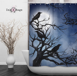 Ravens In The Moonlight Shower Curtain