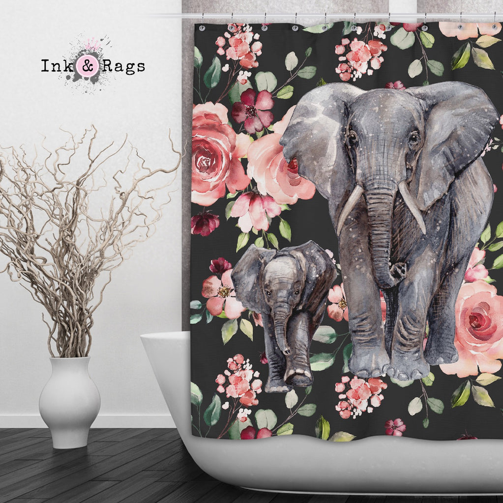 Dark Pink Rose Mama and Baby Elephant Shower Curtains and Optional Bath Mats