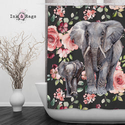 Dark Pink Rose Mama and Baby Elephant Shower Curtain