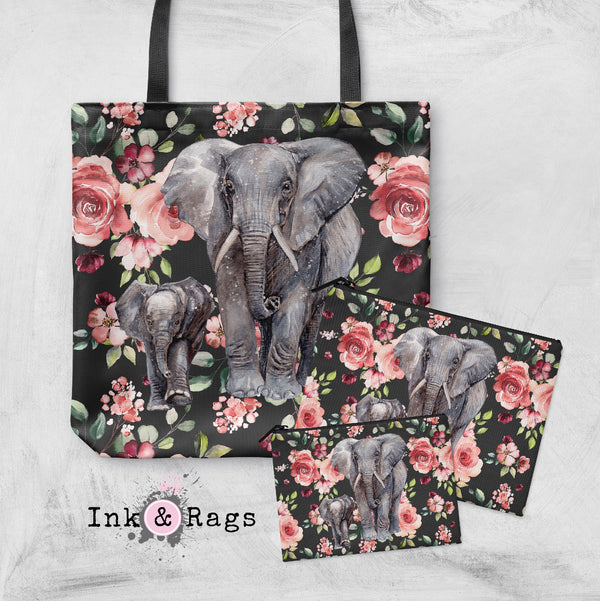 Dark Pink Rose Mama and Baby Elephant Casual Tote OR Cosmetic Pouches