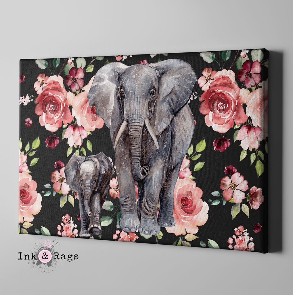 Dark Pink Rose Mama and Baby Elephant Gallery Wrapped Canvas