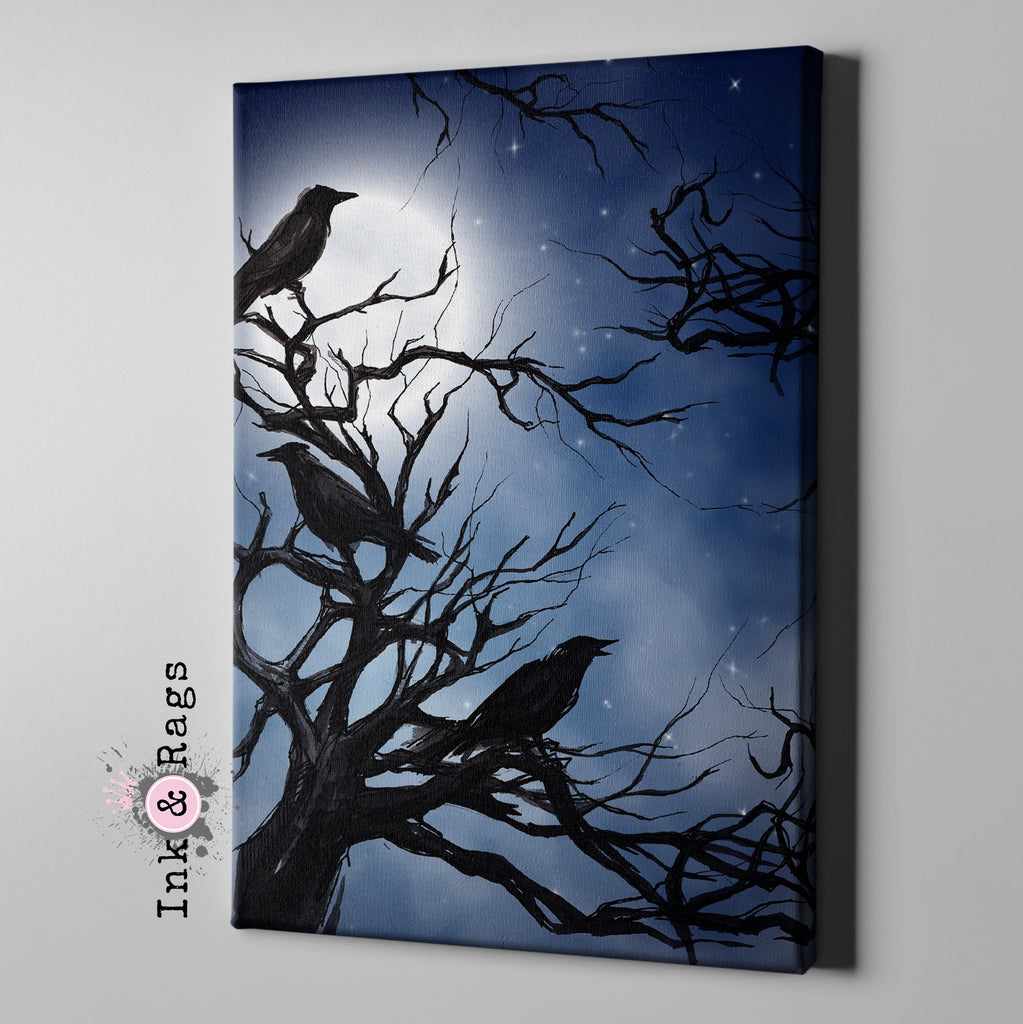 Ravens in the Moonlight Gallery Wrapped Canvas