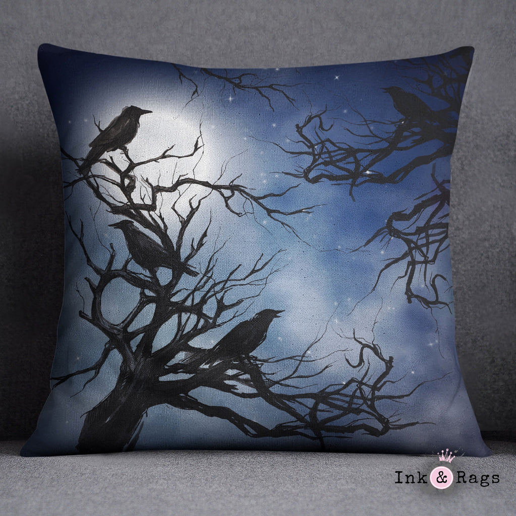 Ravens in the Moonlight Decorative Throw and Pillow Cover Set