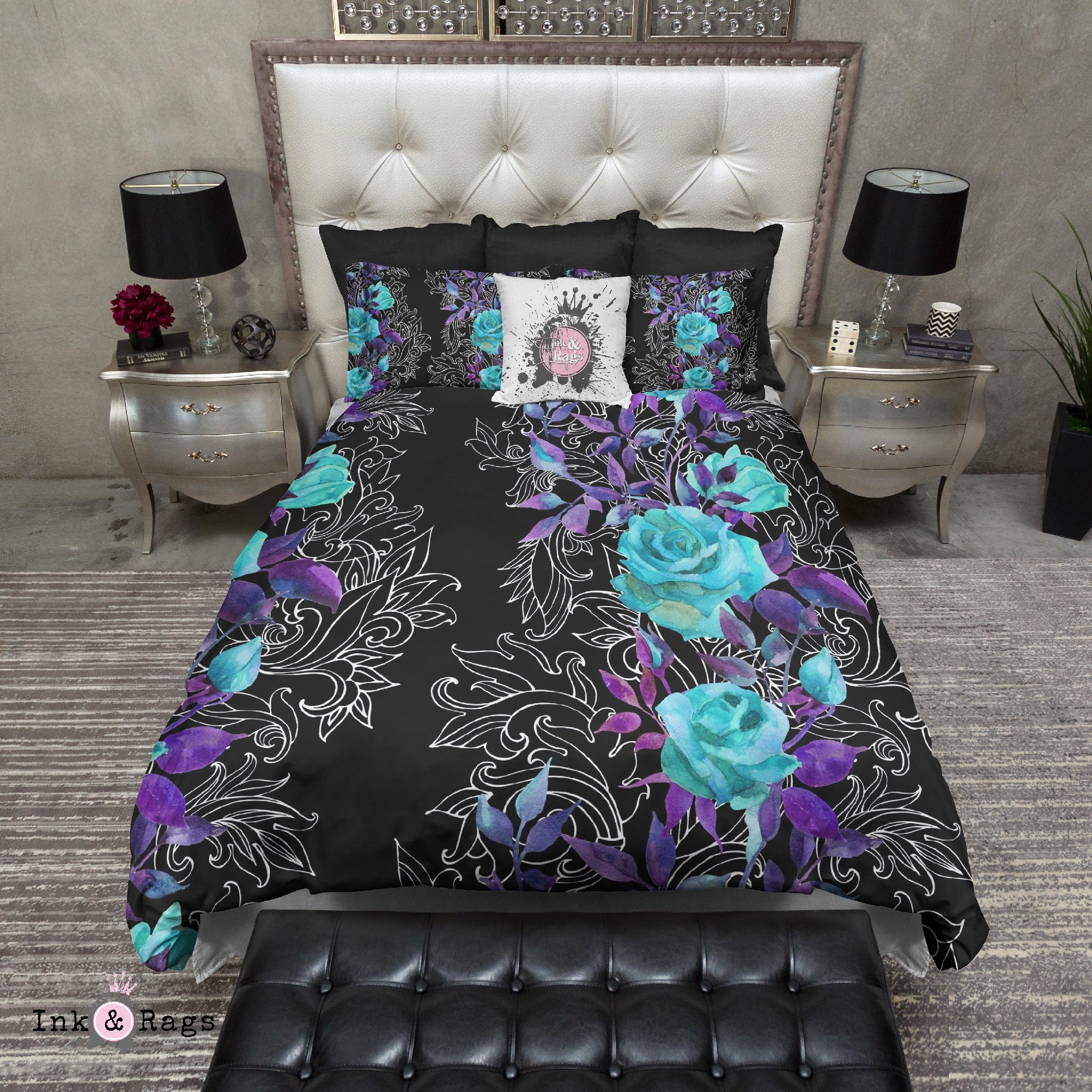Turquoise and Purple Rose with Hand Drawn Scroll Work Bedding Ink
