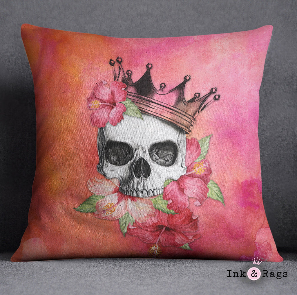 Hibiscus Watercolor Skull Crown Throw Pillow