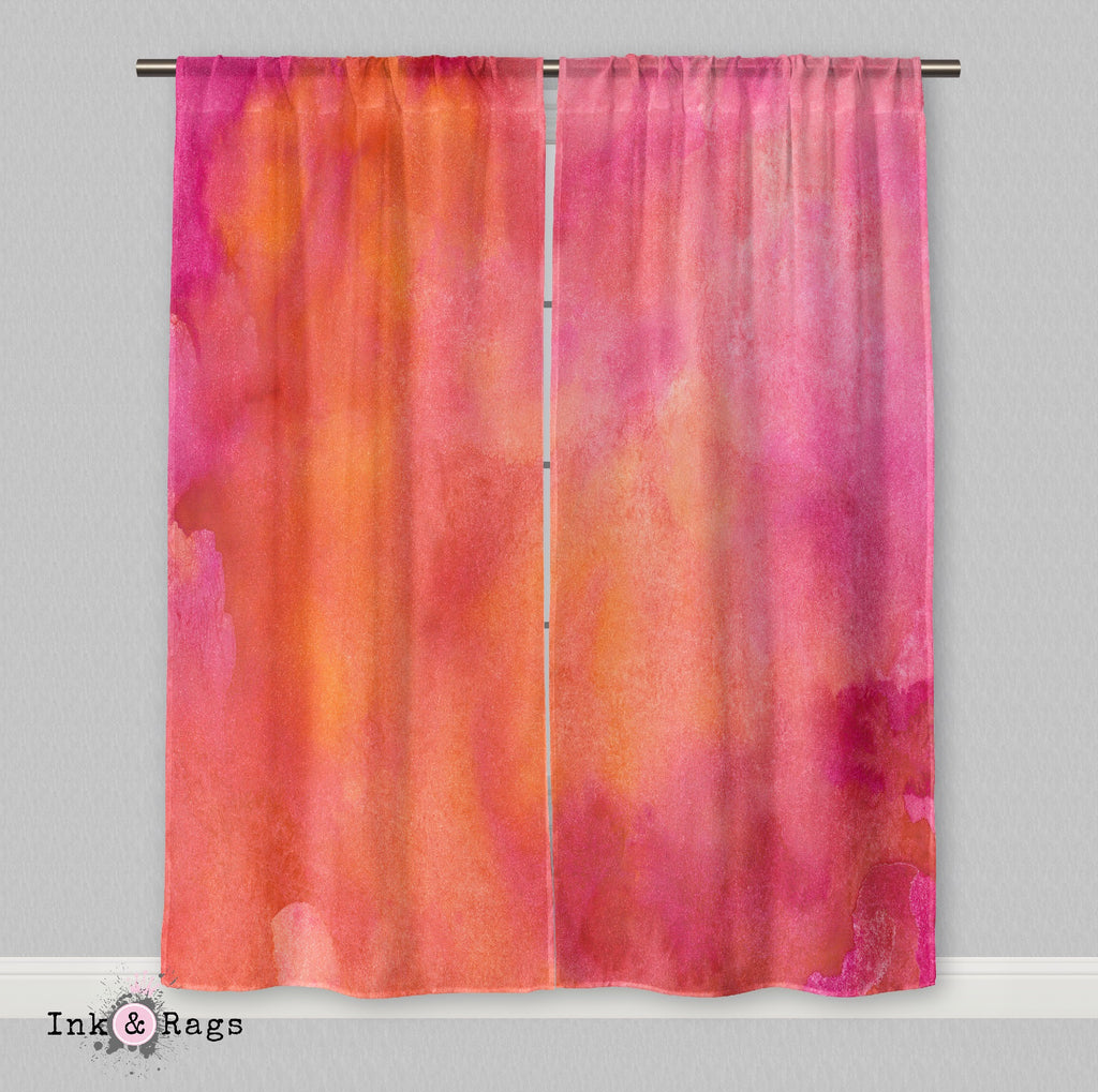 Pink Orange Watercolor Curtains