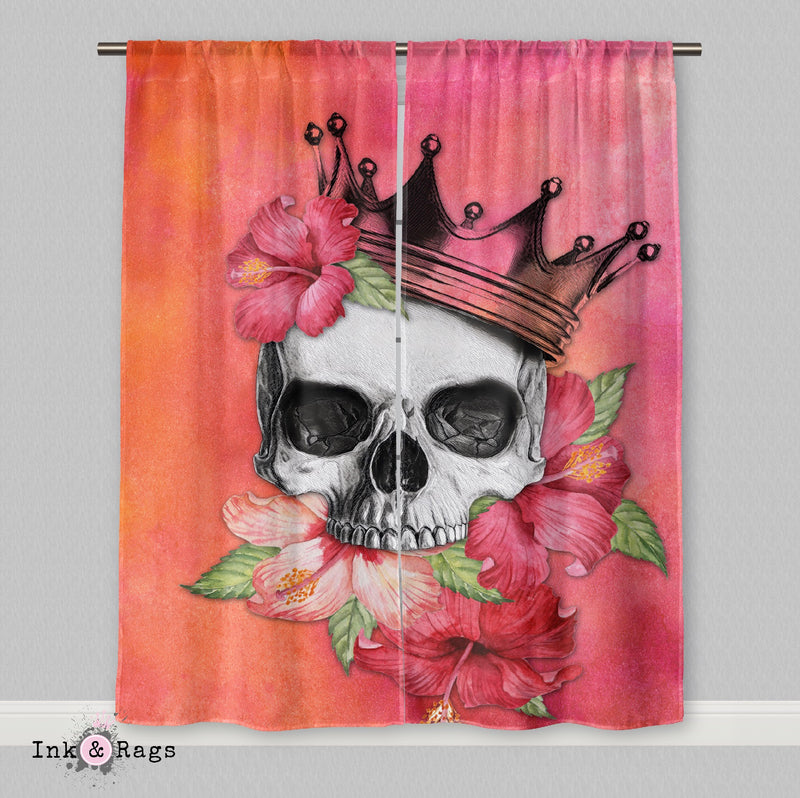 Hibiscus Watercolor Skull Crown Curtains