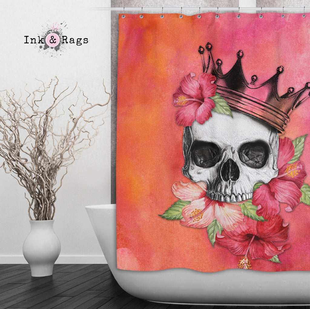 Hibiscus Watercolor Skull Crown Shower Curtains and Optional Bath Mats