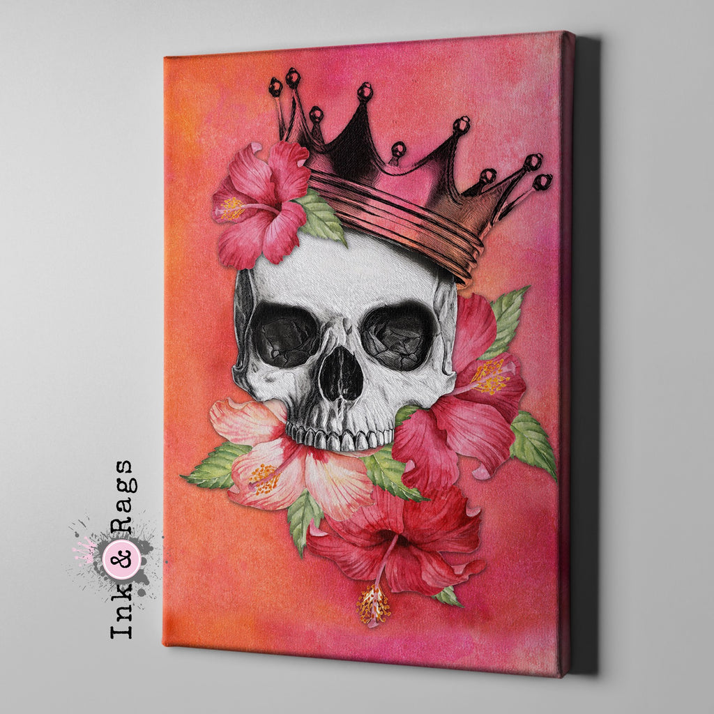 Hibiscus Watercolor Skull Crown Gallery Wrapped Canvas