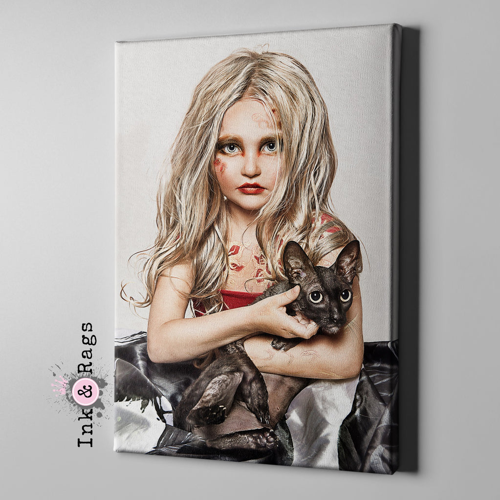 Little Goth Girl and her Black Cat Gallery Wrapped Canvas