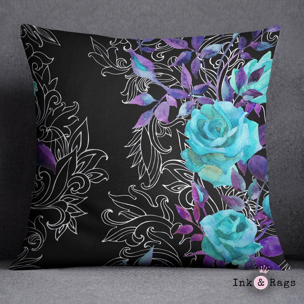 Turquoise and Purple Rose with Hand Drawn Scroll Work Throw Pillow