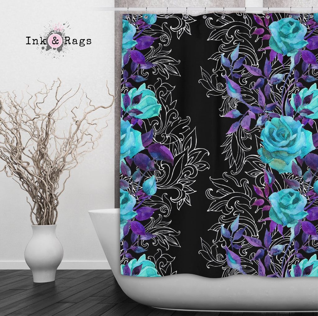 Turquoise and Purple Rose with Hand Drawn Scroll Work Shower Curtains and Optional Bath Mats