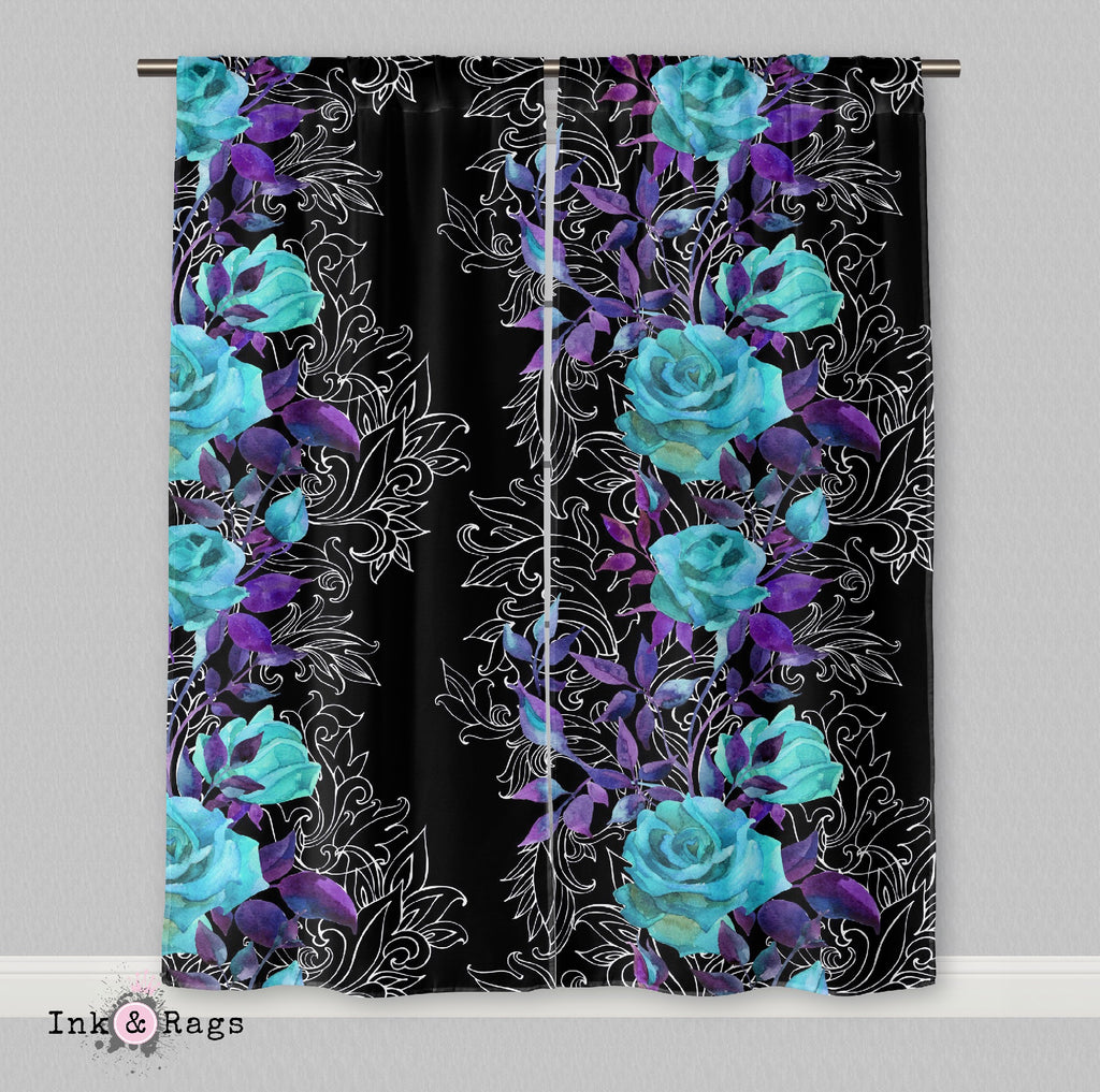 Turquoise and Purple Rose with Hand Drawn Scroll Work Curtains
