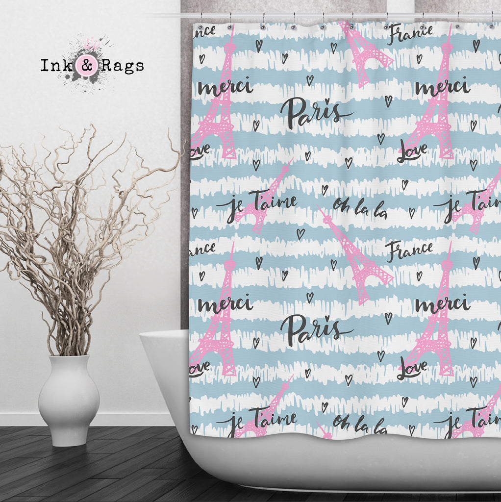 Pink and Blue Paris Eiffel Tower Shower Curtains and Optional Bath Mats