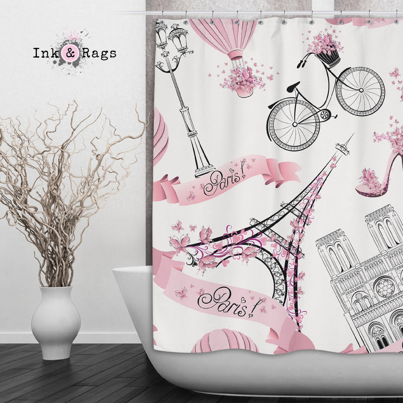 Whimsy in Paris Pink Shower Curtains and Bath Mats