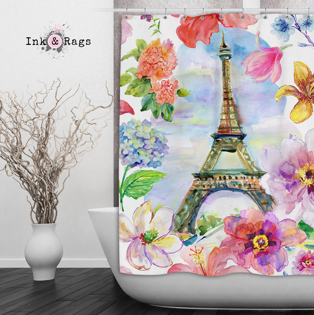 Paris in Spring Eiffel Tower Shower Curtains and Optional Bath Mats
