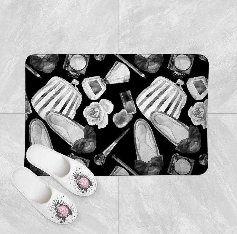 Black and White Watercolor Fashion Shower Curtains and Bath Mats