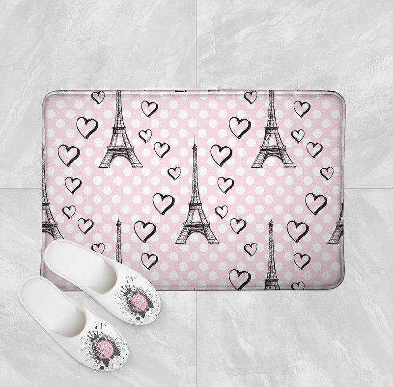 Pink Dot Love Paris Eiffel Tower Shower Curtains and Bath Mats