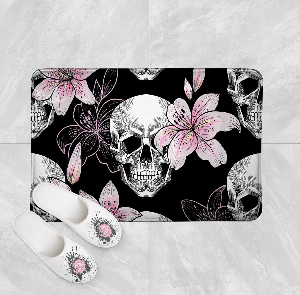 Pink Lily and Skull Shower Curtains and Optional Bath Mats