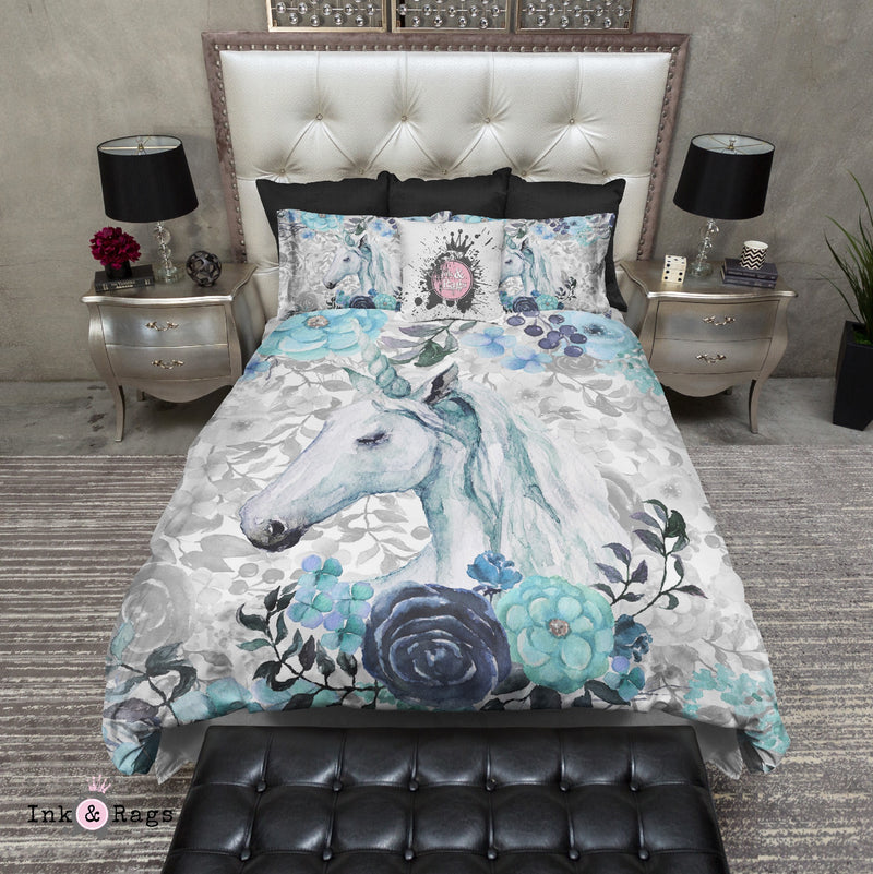 Turquoise Watercolor Flower Unicorn Bedding