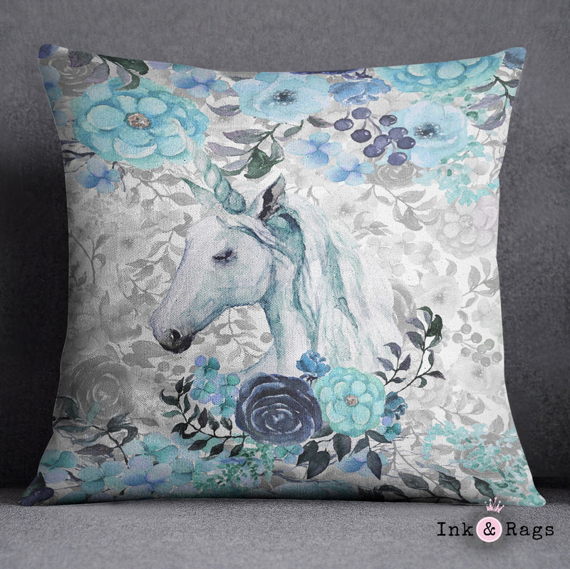Turquoise Watercolor Flower Unicorn Decorative Throw and Pillow Cover Set