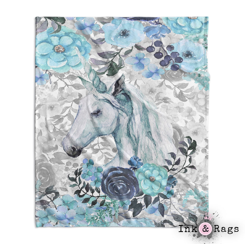 Turquoise Watercolor Flower Unicorn Decorative Throw and Pillow Set