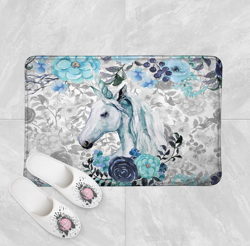 Turquoise Watercolor Flower Unicorn Shower Curtain and Bath Mat