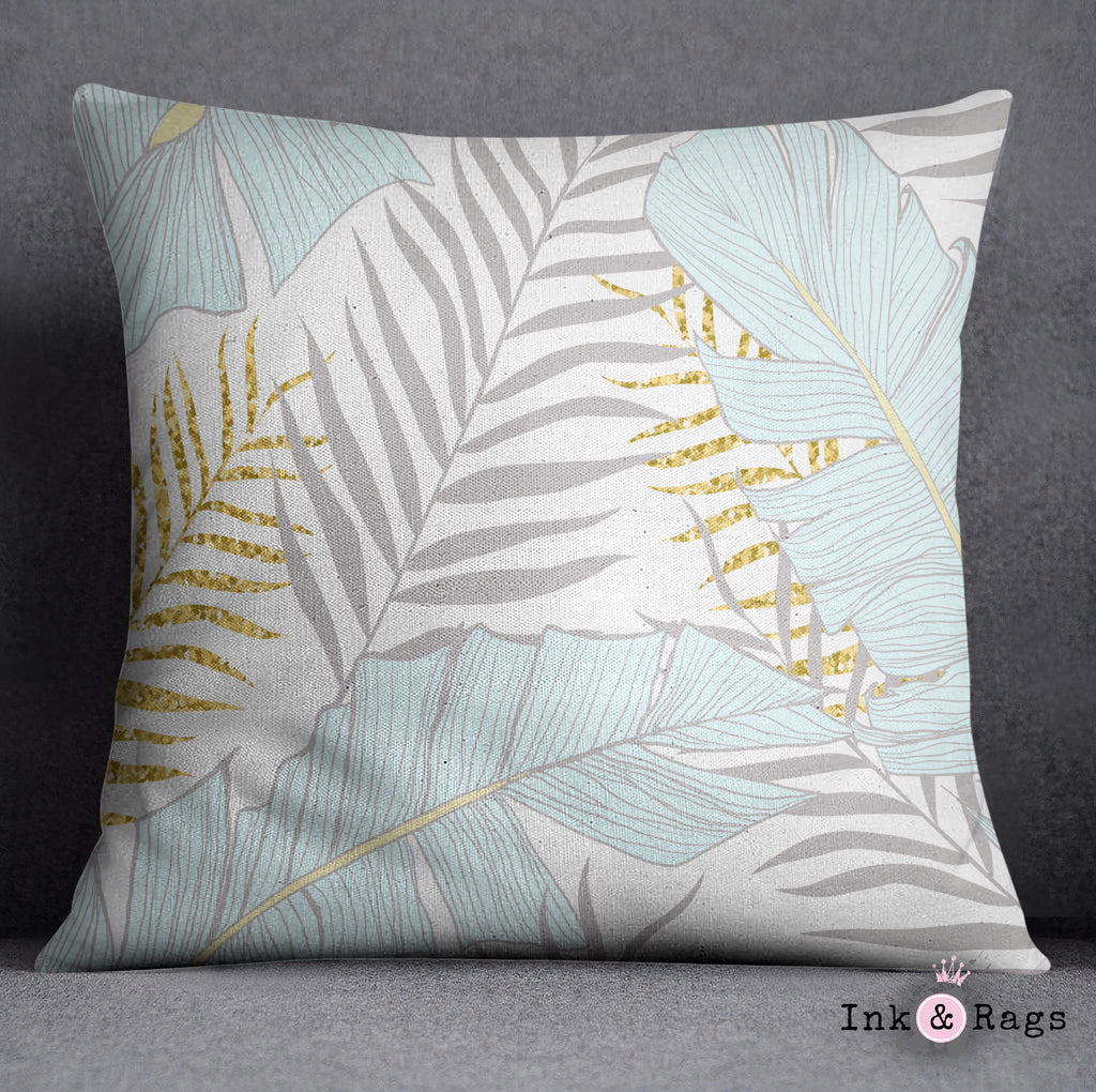 Powder and Gold Palm and Banana Leaf Throw Pillow