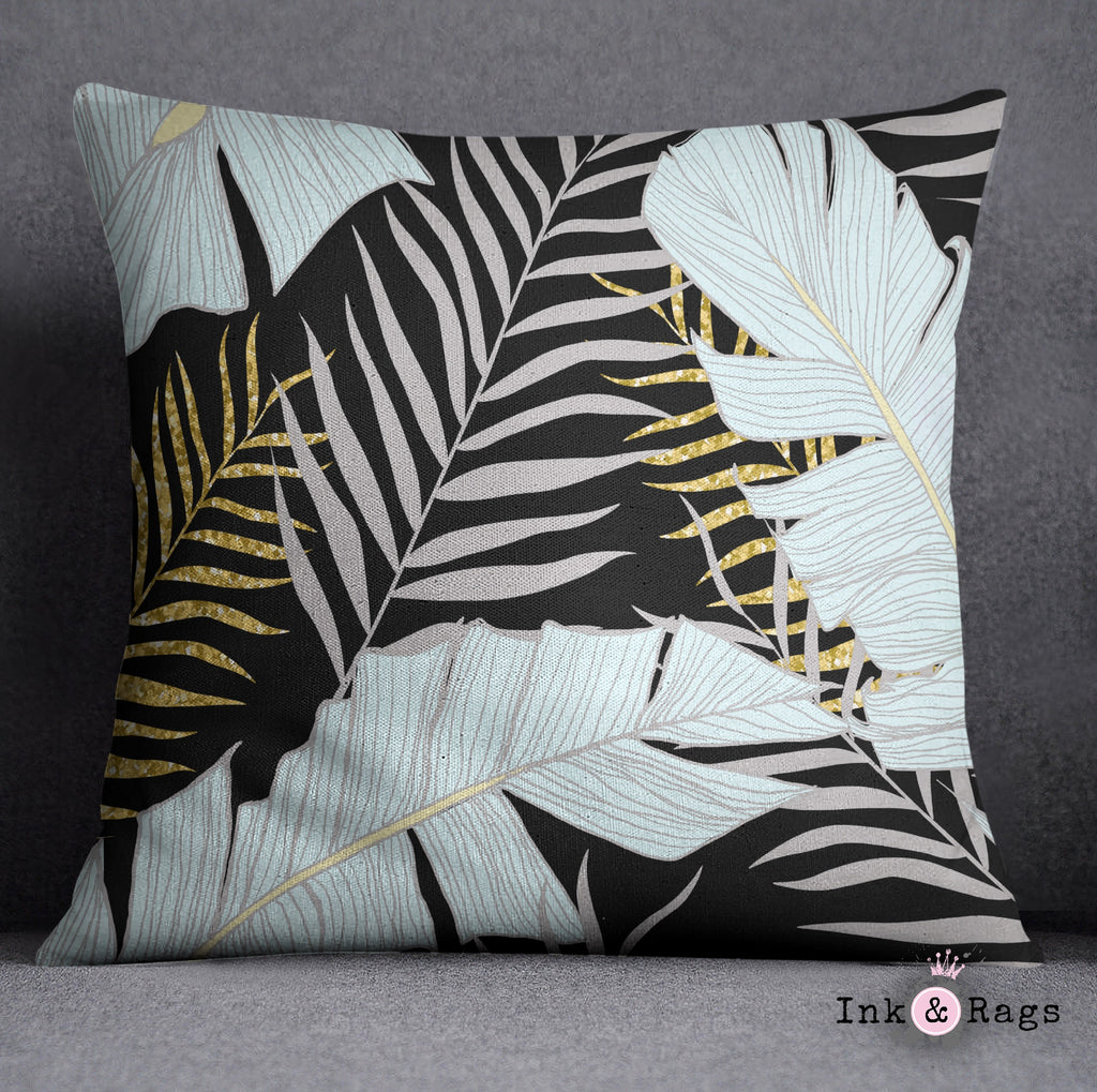Powder and Gold Palm and Banana Leaf Black Throw Pillow