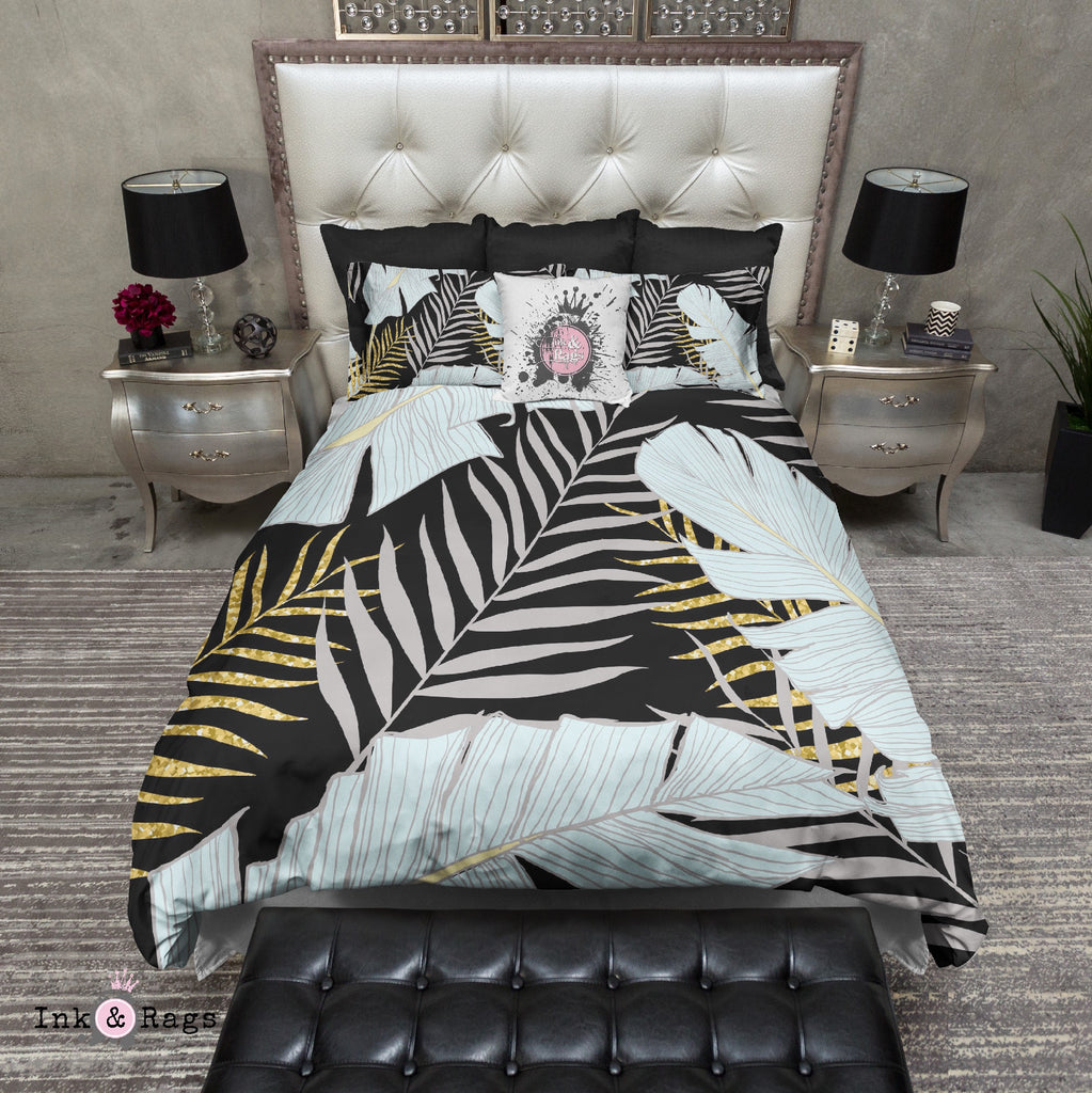 Powder and Gold Palm and Banana Leaf Black Bedding Collection
