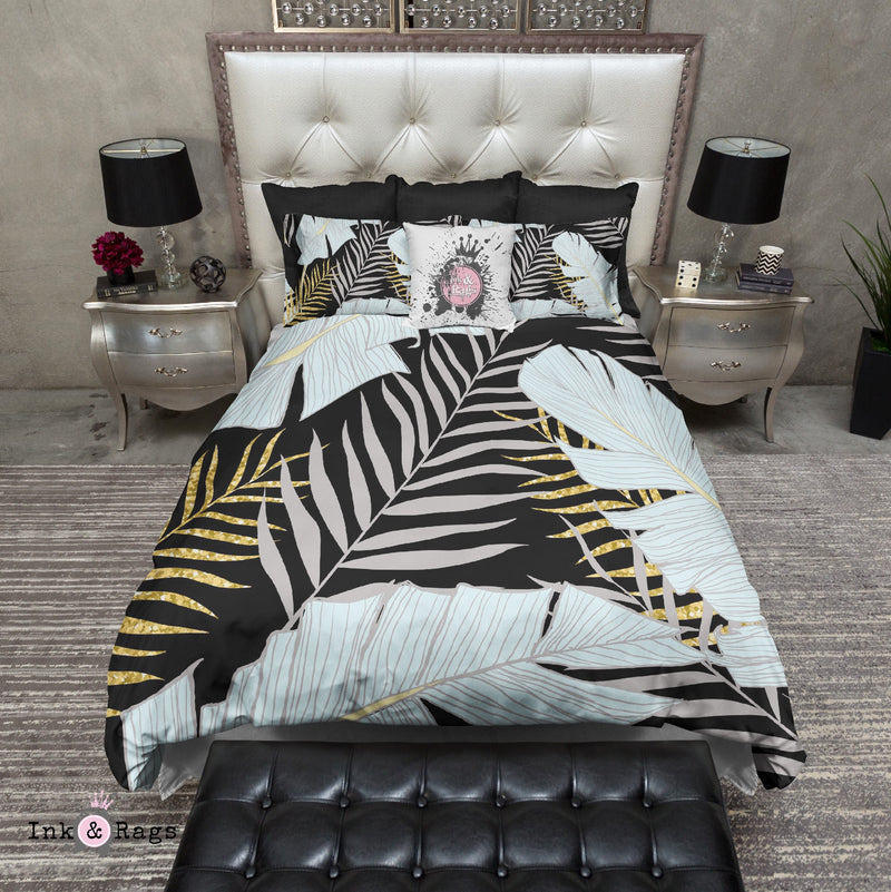 Powder and Gold Palm and Banana Leaf Black Bedding