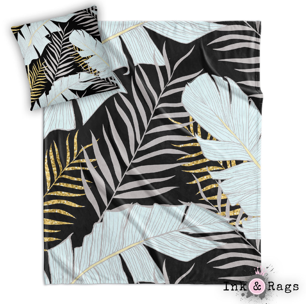 Powder and Gold Palm and Banana Leaf Black Decorative Throw and Pillow Cover Set