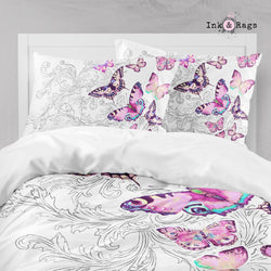 Watercolor Butterfly and Hand Drawn Leaf Big Kids Bedding