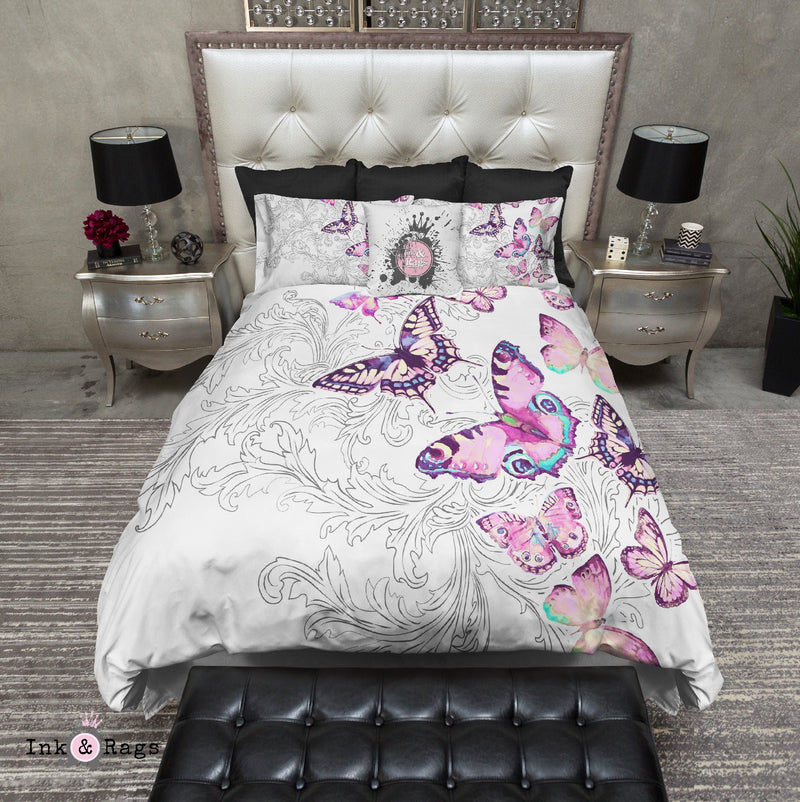 Watercolor Butterfly and Hand Drawn Leaf Bedding