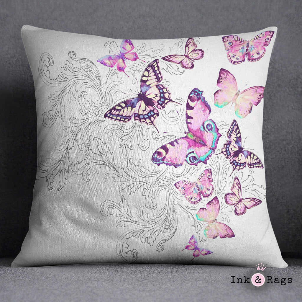 Watercolor Butterfly and Hand Drawn Leaf Decorative Throw Pillow Cover