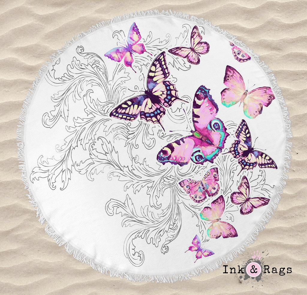 Watercolor Butterfly and Hand Drawn Leaf Round Beach Towel