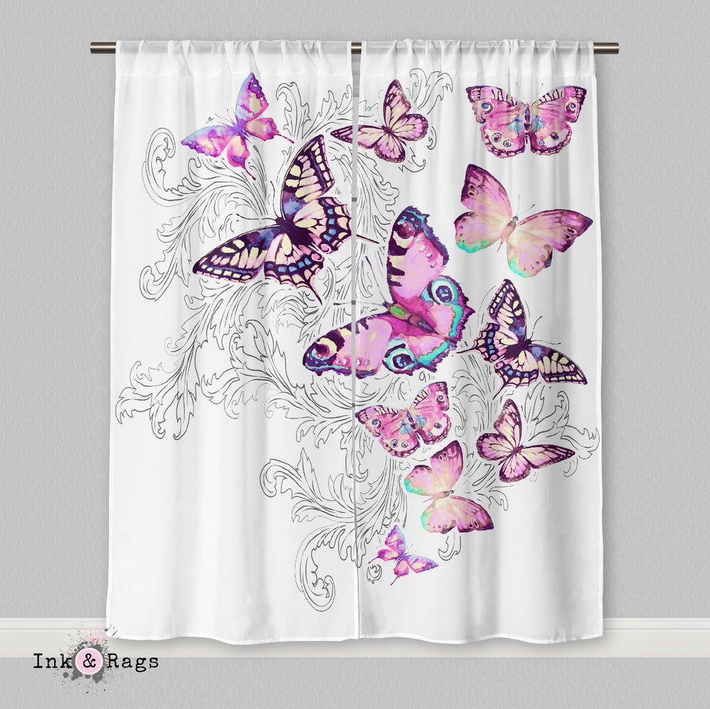 Watercolor Butterfly and Hand Drawn Leaf Curtains