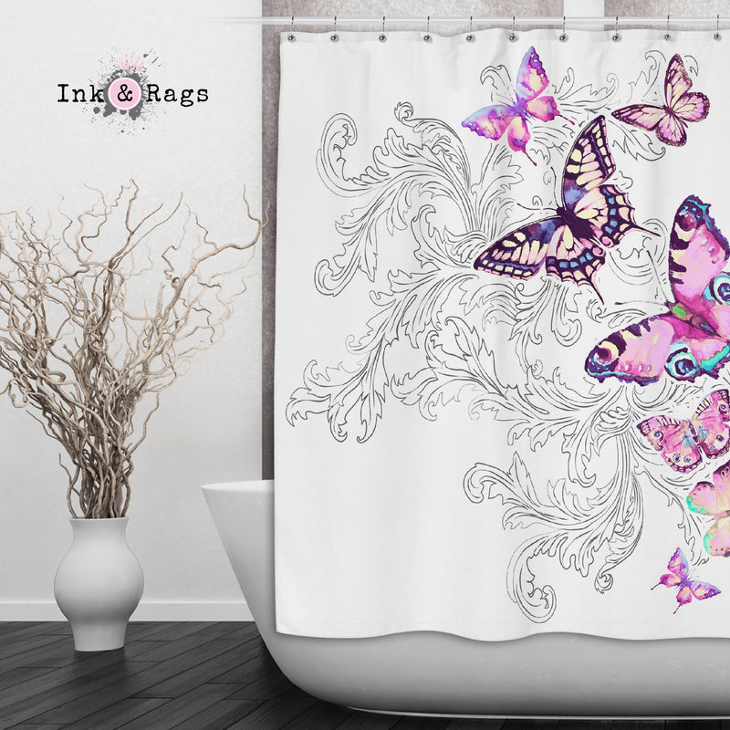 Watercolor Butterfly and Hand Drawn Leaf Shower Curtains and Bath Mats
