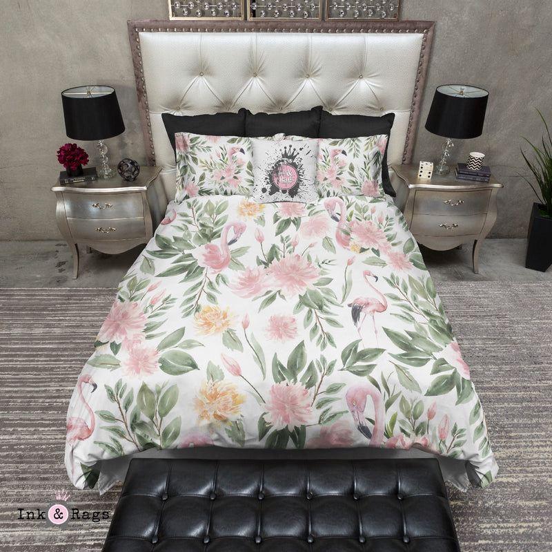 Sage Green and Pink Flamingo Bedding