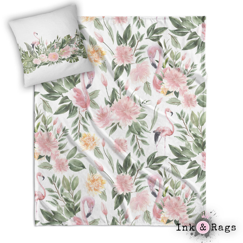 Sage Green and Pink Flamingo Decorative Throw and Pillow Cover Set