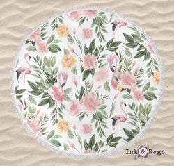 Sage Green and Pink Flamingo Round Beach Towel