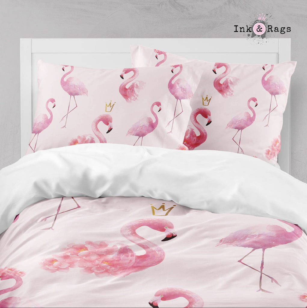 Princess Flamingo with Gold Crowns Big Kids Bedding