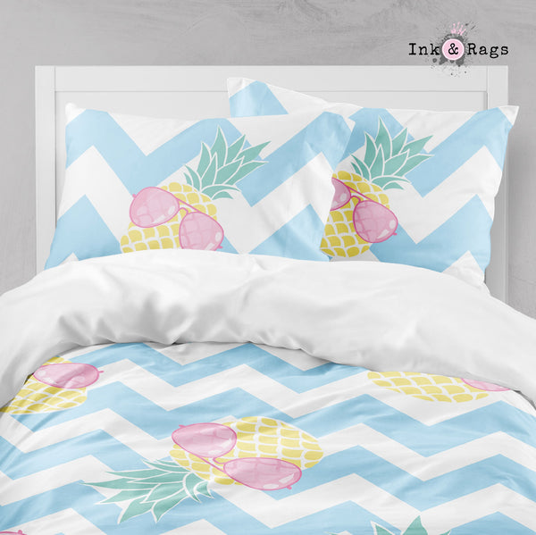 Pineapple with Pink Aviators on Chevron Big Kids Bedding