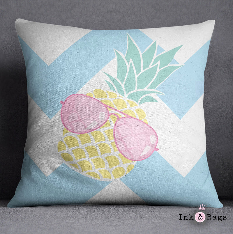Pineapple with Pink Aviators on Chevron Decorative Throw Pillow Cover