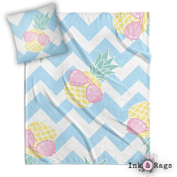 Pineapple with Pink Aviators on Chevron Decorative Throw and Pillow Cover Set