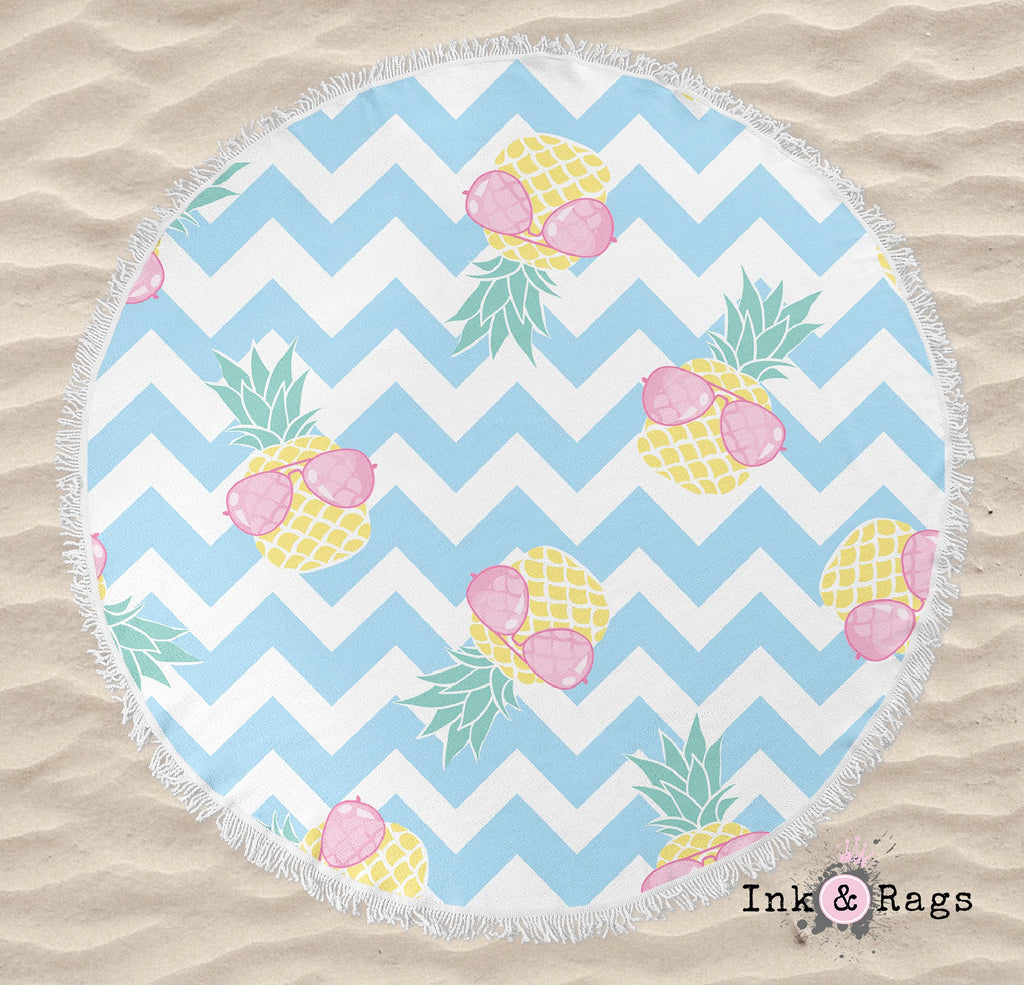 Pineapple with Pink Aviators on Chevron Round Beach Towel