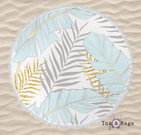 Powder and Gold Palm and Banana Leaf Round Beach Towel