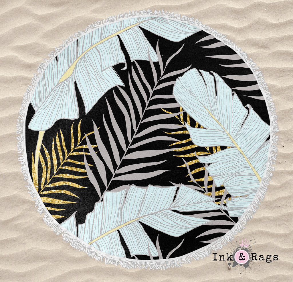 Powder and Gold Palm and Banana Leaf Black Round Beach Towel