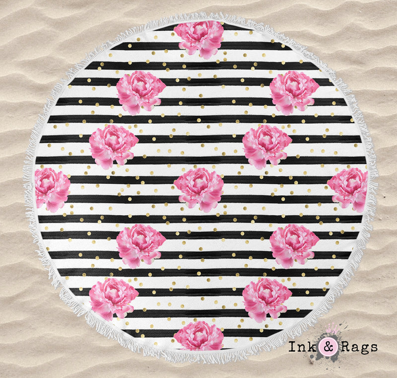 Kate Spade Inspired Stripe Gold Dot Pink Peony Round Beach Towel