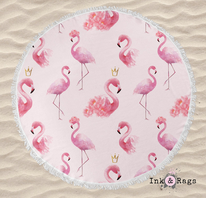Princess Flamingo with Crowns Round Beach Towel